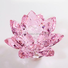 K9 Glass Crystal lotus Flower Model For Unique Business Gift &Office Decoration