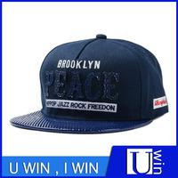 Leather Brim Falt Hat Embroidery Sport cap For Men Newest