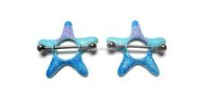 Blue Starfish Nipple Ring Barbell Shield