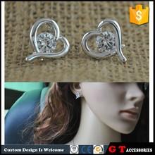 2015 New Design Korea Fashion Zircon Stud Earrings Women, Gold Heart Shaped Earrings