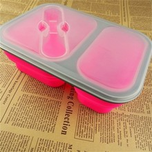 CCLB-S061 Eco-friendly design collapsible two inner part silicone floding custom lunch box for microwave