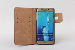 Squirrel Grain PU Leather Flip Case for Samsung S6 Edge Plus Wallet Cover with Card Slot MT-5303