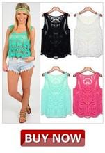 2014 verano de moda floral de encaje de ganchillo tops blusas de mujer sin mangas hueco fuera de camisa de encaje 6259