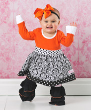 2015 thanksgiving baby clothes pumpkin pattern kid clothing wholesale full sleeve children boutique clothing LW-010
