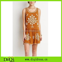 Short dress Embroidered cut-out back wholesale women short dress, brown dress on sale, gauze clothing made in china
