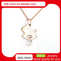 Jewelry replicas cartoon horse dangle diamond necklaces woman