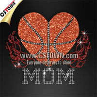 CSTOWN Exclusive design basketball mom rhinestone iron ons