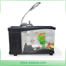 mini fish tank USB aquarium with LED lamp clock for business gift