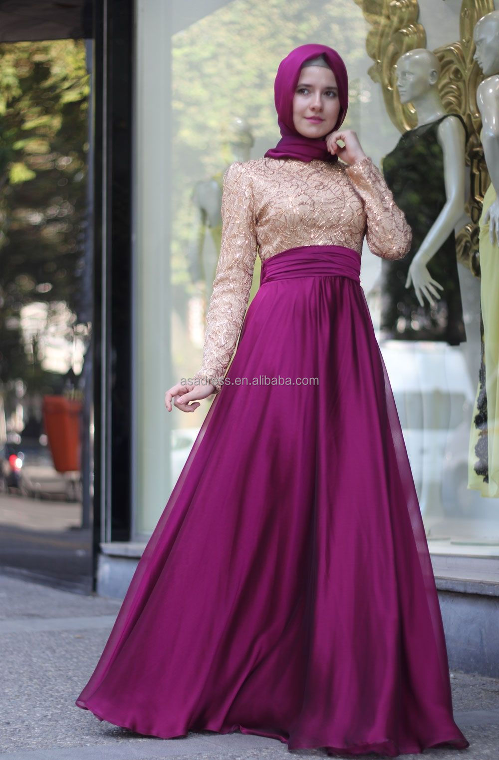 Ate13 High Neck Long Sleeve Abaya Dubai Kaftan Green Fushia Lace ...