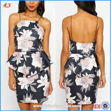 High quality new fashion pictures formal clothes women dresses floral pleated peplum printed dress