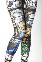 Oem mujeres leggings custom religiosa impreso damas leggings