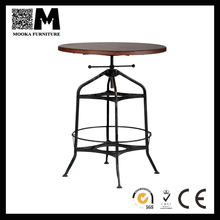 made in China steel frame with wood top furniture round height adjustable table