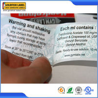 Wholesale Private 2 layer label printing pharmaceutical vial labels