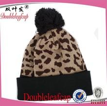 100% acrylic beanie hat wholesale girls crochet beanie hat sexy leopard print knit hat