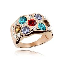 2014 new men women swarovski element crystal Gold Plated wedding ring