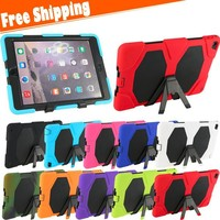 Military Extreme Heavy Duty Hybrid Combo Protector Case Cover For iPad 6 For iPad Air 2 with Kickstand Shockproof Hard Case