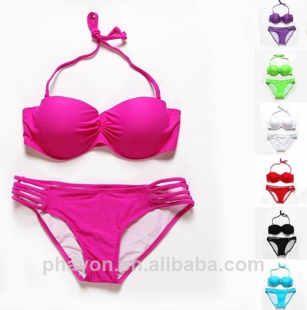 2014 phayon sólido la mujer traje de baño, las mujeres sexy bikinis