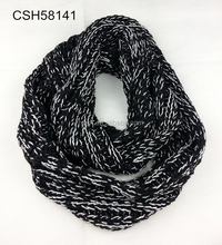 Thick Chunky Black Knitted Scarf with Shiner