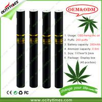 Custom logo for 260 puffs CBD e cigarette/hemp cbd oil ecig vape pen/disposable empty o pen vape cbd oil vape