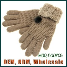2015 New design women lady girl acrylic winter gloves very thick and warm knit woolen mitten