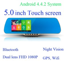CE RoHS 1080P DVR FM Wifi 5.0 Inch Screen Android bluetooth rearview mirror wd0608 With GPS Camera