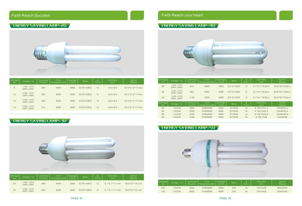 More kinds of energy saving lamps, E27 3U energy saving light bulb