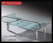 hot sale artistic cheap and fine tempered bent glass coffee table