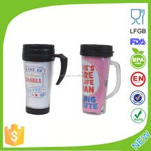 BPA Free Double Wall Plastic Thermal Auto Mug With Handle