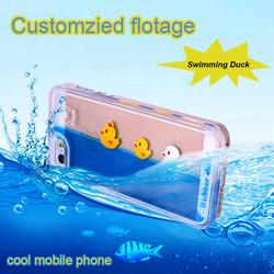 Amazing liquid swimming duck mobile phone case for iPhone 6S case