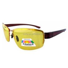 Léger demi - jante lunettes de soleil polarisées 1.1 mm lentille jaune nuit lunettes de conduite