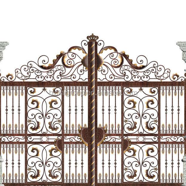 European Design Black Villa Outside Gate Flowers Carving: Bisini Special Design Galvanize Wrought Iron Gate
