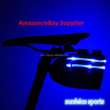 2015 New Arrival Flashing Cycling Bike Bicycle LED light Rear Seat Bag Pouch Flashing Bike Seat Bag