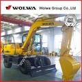 Shandong wolwa 10 ton ruedas excavadora hidráulica con una larga alcance pluma