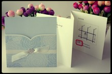elegant wedding card & Hot sale invitation card & chinese sky blue rolling glass wedding invitation card