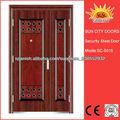 Diseño moderno forjado puertas de entrada doble de hierro para la venta SC-S015
