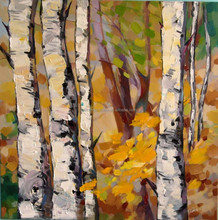 Platte knife painted birch forest oil painting
