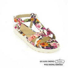 top quality best price white thick sole cross printing slingback school sandal for girls