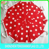 house decoration cotton red dot cotton pennant bunting flag on stock
