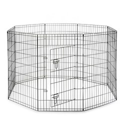 Premium 8 Panel Black Pets / Dogs Exercise Play Pen with Door and Carry Bag - Pets exercise pen