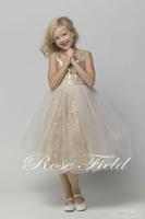 2015 Custom Made Sleeveless Mid Calf Tulle Flower Girl Dresses With Sequins