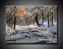fine art oil painting snow scenery