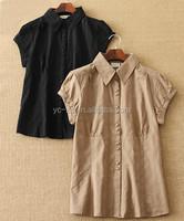 2015 new design blouse women shirt model ladies short sleeve slim blank shirt