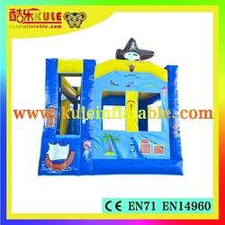 KULE HOT SALE Pirate ship inflatable castle slide bounce house for kids party rental
