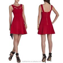 Red short A-line cocktail dress