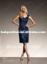 2013 New Sexy Tank Round Neck Beaded Sheath Royal Blue Lace Mother of the Bride Dresses Knee Length 111814