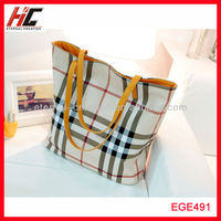 Promotion 2 pcs /set plaid shopping handbags bag in bag for women from China manufacturer