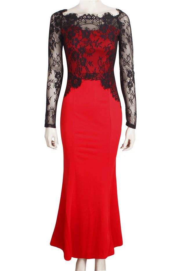 2015 wholesale fashion dresses lace patchwork long sleeve off shoulder