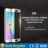New arrivals 3D curved tempered glass screen protector for samsung s6 edge accept paypal
