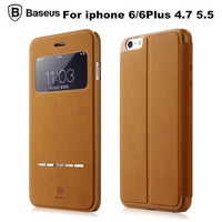 Fashion Original Baseus Case Genuine Leather Flip Cover Slim View Window With Smart Answer Phone Bag For iPhone 6 4.7 6Plus 5.5