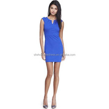 Women Blue Bar Neck Ponte Cap Sleeve Knitted Slim Fit Sheath Dress